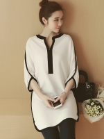เสื้อคลุมท้อง สีขาวขอบดำ