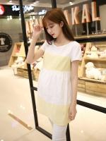 เสื้อคลุมท้อง แขนสั้น ขาวเหลือง