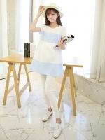 เสื้อคลุมท้อง แขนสั้น ฟ้าขาว