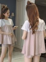 ชุดเสื้อ+กางเกงคนท้อง ชมพูลายขาว เอี๊ยมหลอก แบบน่ารัก กางเกงมีสายปรับขนาดภรรภ์ M,L,XL,XXL