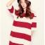 ชุดคลุมท้อง ทรงยาวลายขวาง แดง ขาว ผ่าข้าง M,L,XL,XXL thumbnail 4