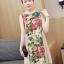 ชุดคลุมท้องคอจีน ผ้าฝ้ายพิมพ์ลายดอกไม้สวยงาม ด้านข้างผ้าพริ้วสวย M L XL XXL thumbnail 3
