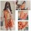ชุดคนท้อง ผ้าชีฟอง สีส้ม แขนกุด ลายเด็กน้อย L,XL thumbnail 4