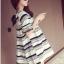 ชุดคลุมท้อง แขนระบาย เทา มีโบว์ น่ารัก L,XL,XXL thumbnail 3