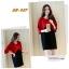 ชุดเดรสคลุมท้อง แฟชั่นเกาหลี แดง ดำ ผ้าหนา เรียบหรู M,L,XL,XXL thumbnail 2