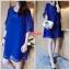 เดรสคลุมท้อง ผ้าชีฟองสีน้ำเงินสด แขน3ส่วน L,XL,XXL thumbnail 1