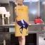 ชุดคลุมท้อง สีเหลือง ลายนก ผ้าดียับยากซักง่าย XL,XXL thumbnail 1