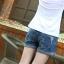 กางเกงยีนส์ขาสั้นคนท้อง ฟอกสวย ปลายพับ น่ารักค่ะ XL,XXL thumbnail 4