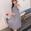 เดรสคลุมท้องแนวเกาหลี อัดพรีท สีเทาหมอก ด้านบนซีทรู น่ารักฝุดๆ M,L,XL,XXL thumbnail 1