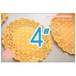 กระดาษลูกไม้ กระดาษดอลลี่ ลายจุด สีส้ม 4นิ้ว