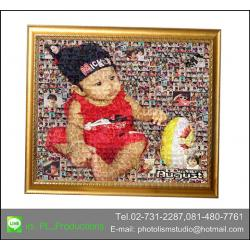 Mosaic Photo ขนาด 24x32 นิ้ว + กรอบไม้เส้นสีทอง เคลือบร้อน