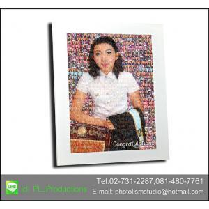 Mosaic Photo แบบ cell กลาง ขนาด 20x26 นิ้ว + กรอบไม้เส้น สีขาว เคลือบร้อน ลายผ้า