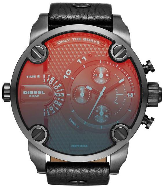 นาฬิกาผู้ชาย Diesel รุ่น DZ7334, Little Daddy Chronograph Black Leather Men's Watch