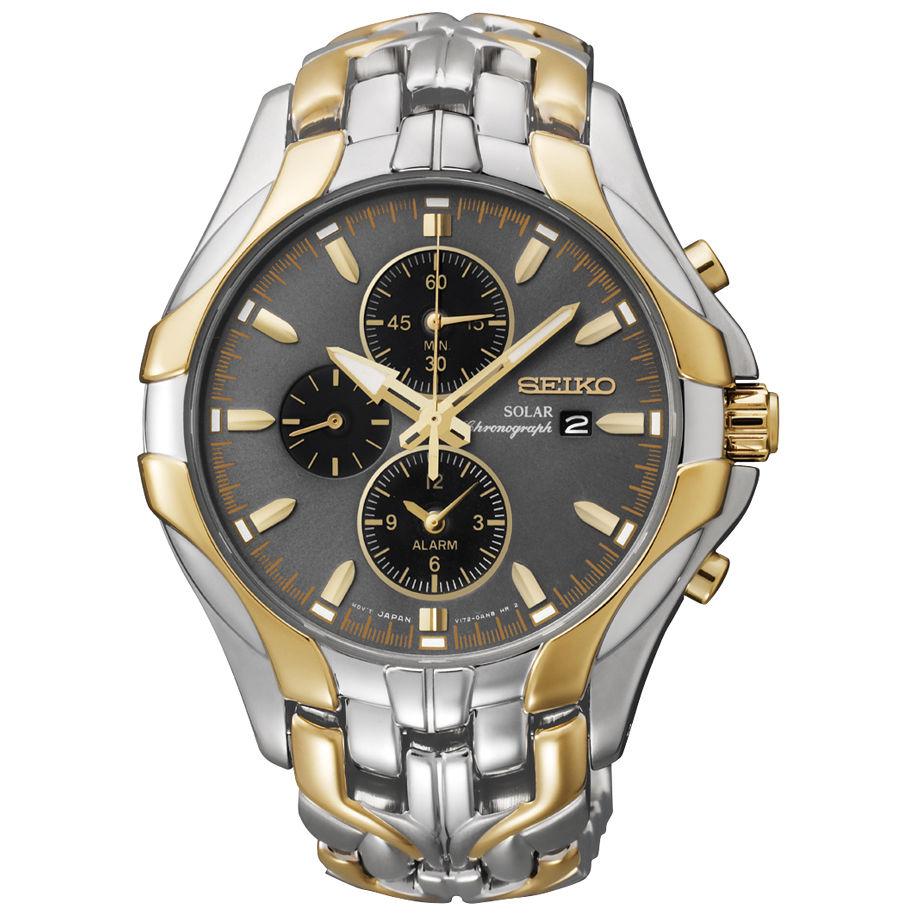 นาฬิกาผู้ชาย Seiko รุ่น SSC138, Solar Chronograph Two Tone Stainless Steel