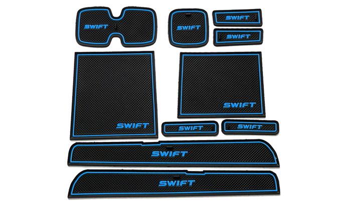 แผ่นรองในร่องรถยนต์ Suzuki Swift 2013-2015สีฟ้า- ดำ
