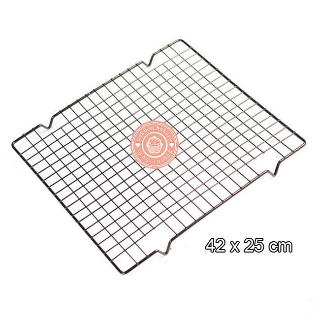 ตะแกรงพักอาหาร สแตนเลส ขนาด 37x25 cm