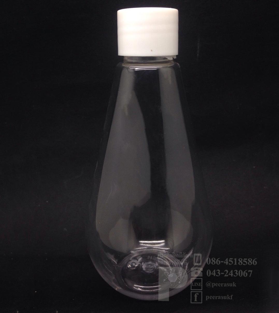 หยดน้ำ 250 ml ใส+จุกรู+ฝาเกลียวสีขาวทึบ 10 ชิ้น