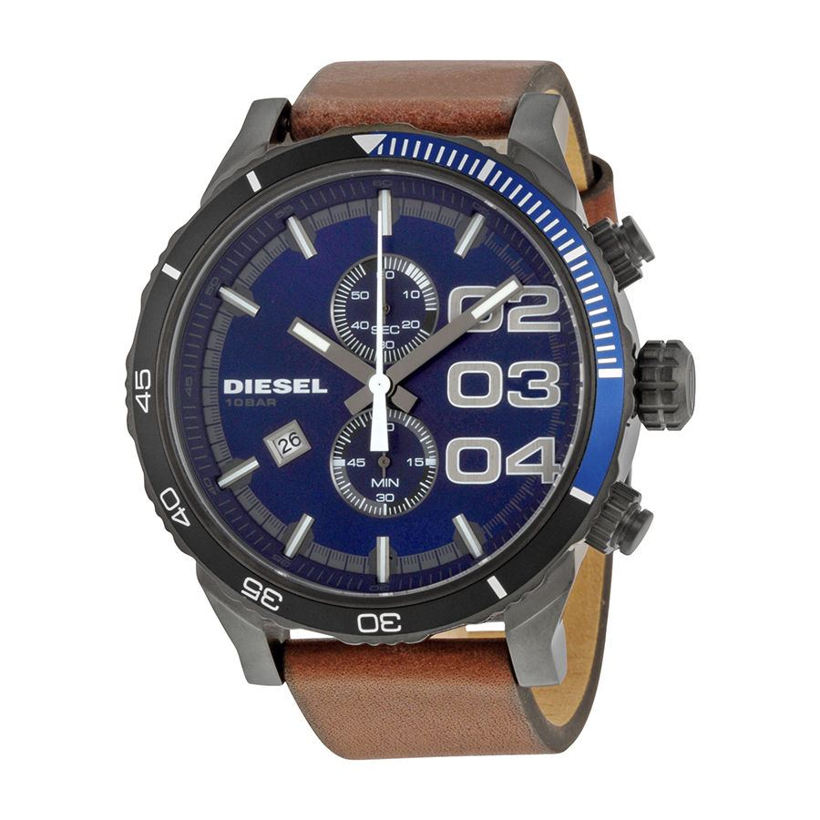 นาฬิกาผู้ชาย Diesel รุ่น DZ4312, Double Down Brown Leather Men's Watch
