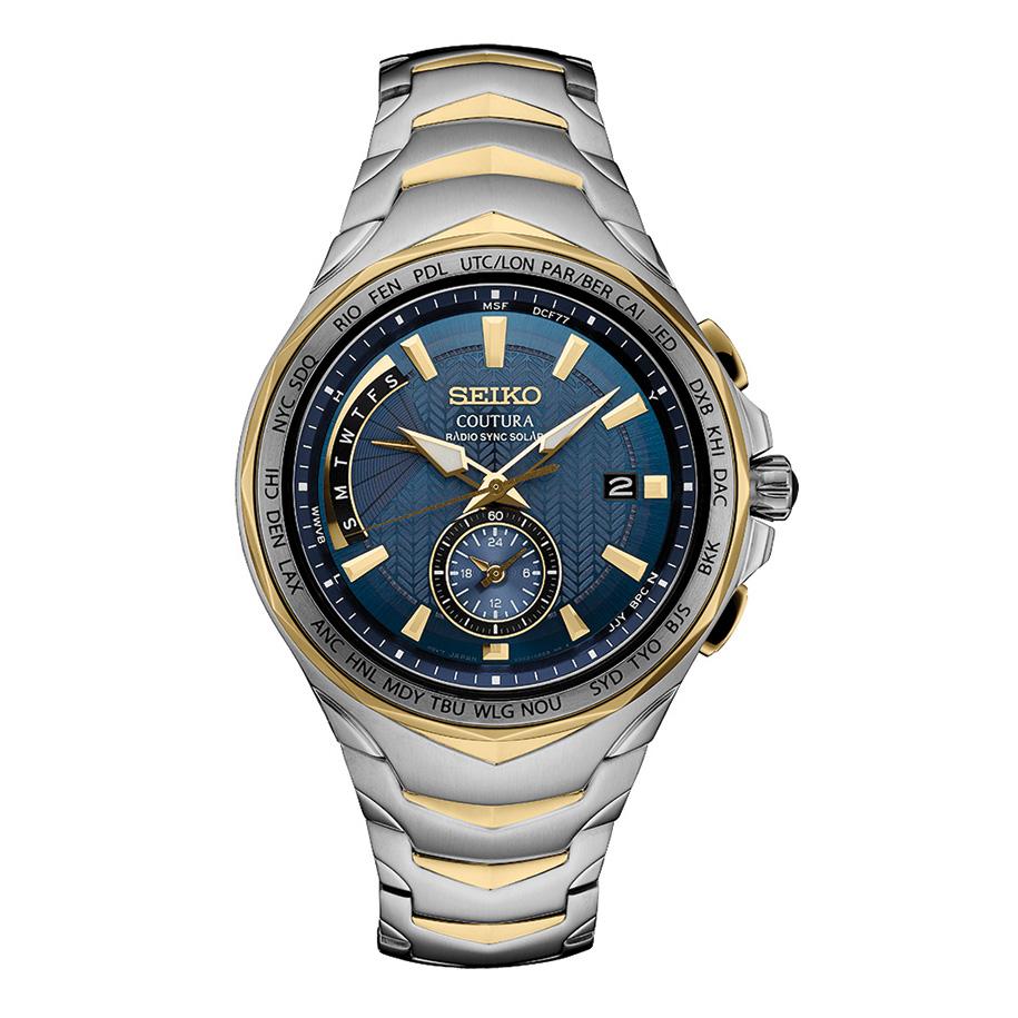 นาฬิกาผู้ชาย Seiko รุ่น SSG020, Coutura Radio Sync Solar World Time Two Tone Steel