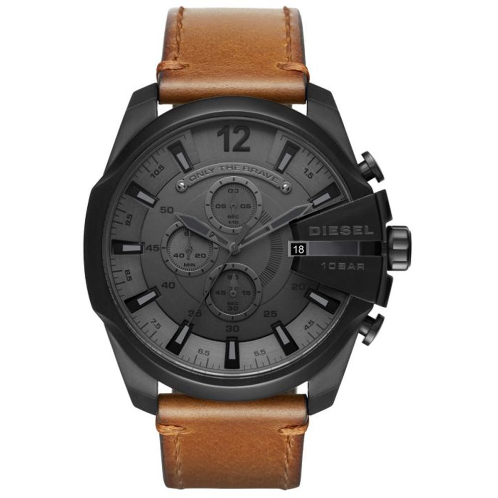 นาฬิกาผู้ชาย Diesel รุ่น DZ4463, Mega Chief Black Dial Brown Leather Strap Men's Watch