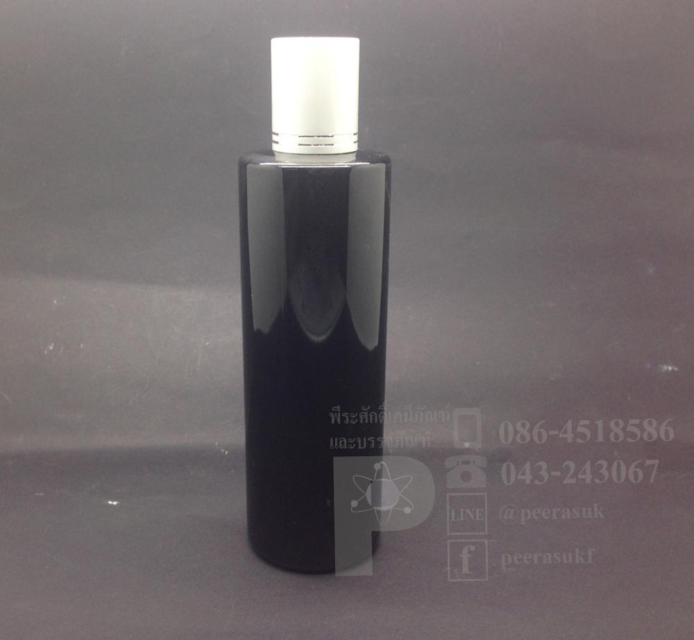 SA250 ml สีดำ+จุกรู+ฝาเกลียวอลูสีเงินลาย แพคละ 10 ชิ้น