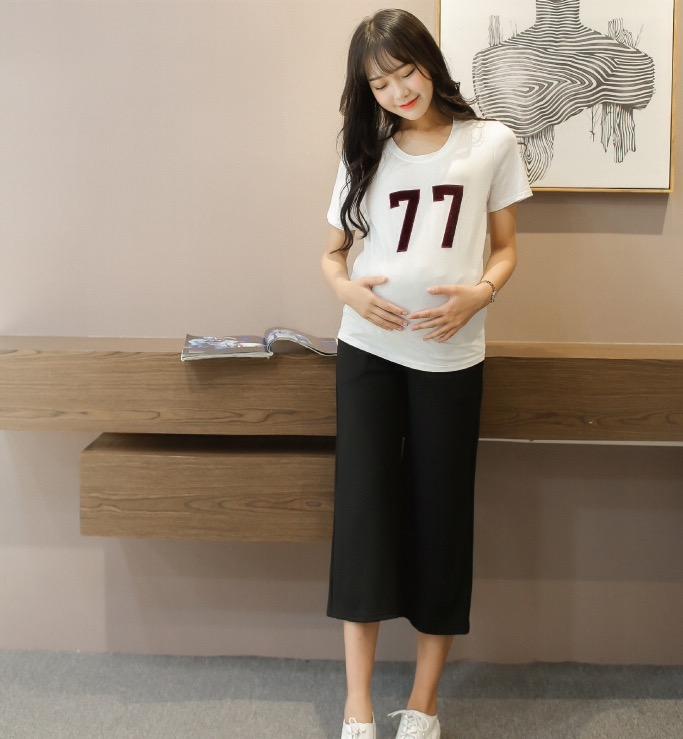 กางเกงคนท้อง ขา5ส่วนแฟชั่น สีดำ มีกระเป๋าข้าง M,L,XL