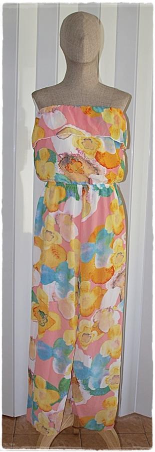 Sold Jumpsuit เอวจั๊ม ผ้าชีฟอง พื้นสีชมพู ลายดอก
