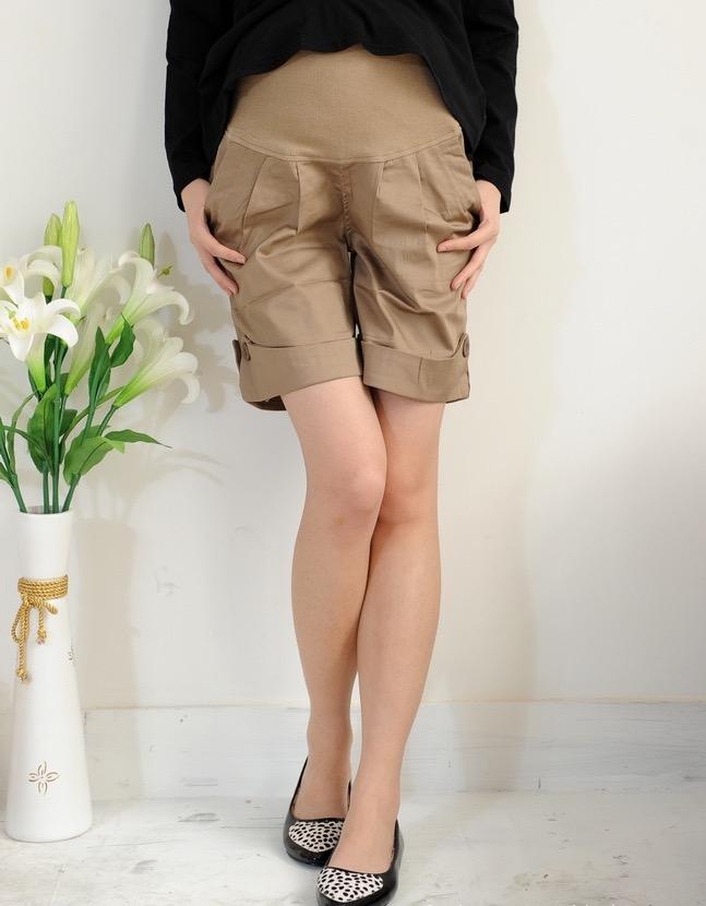 กางเกงคนท้อง ปลายทรงพับ มีผ้ายืดหน้าท้อง สีน้ำตาล M,L,XL,XXL