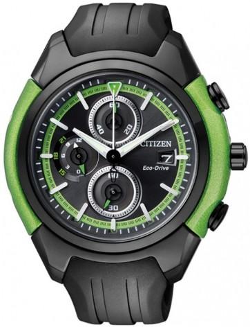 นาฬิกาข้อมือผู้ชาย Citizen Eco-Drive รุ่น CA0289-00E, Black And Green HSTech Chronograph
