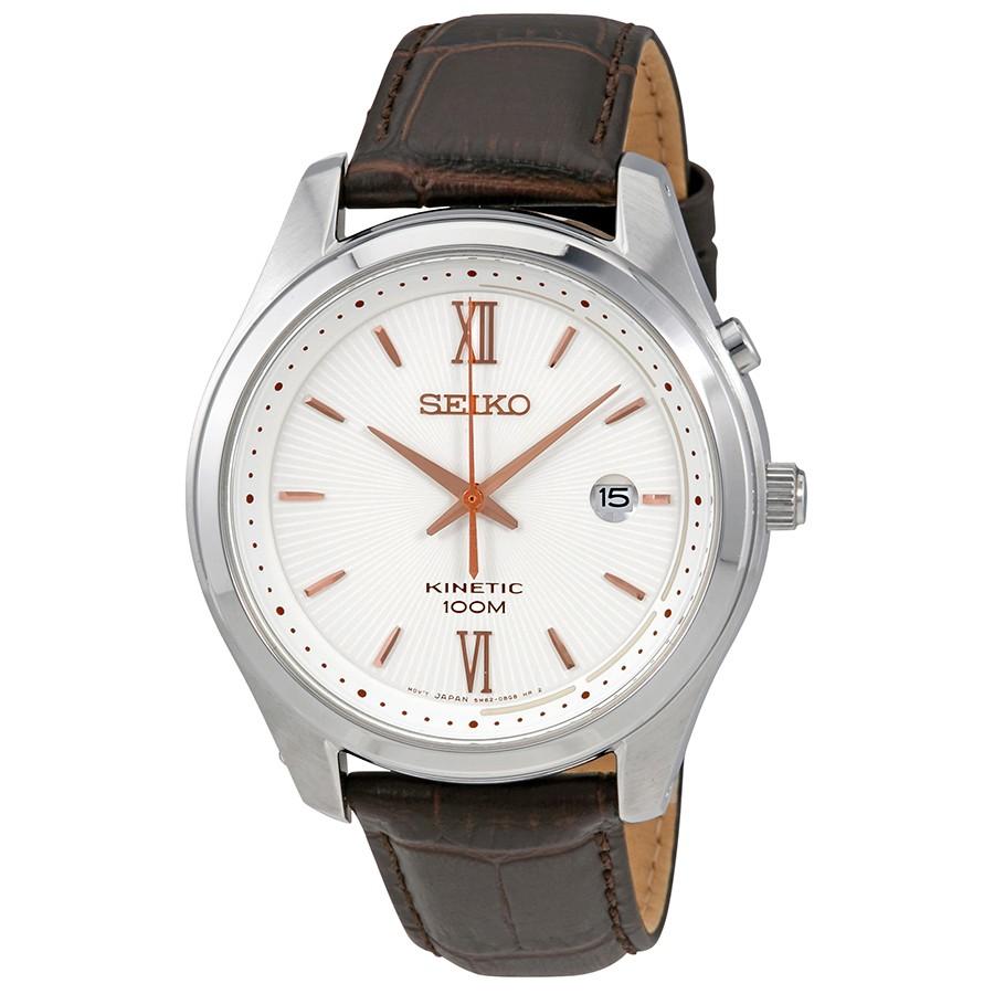 นาฬิกาผู้ชาย Seiko รุ่น SKA773P1, Kinetic White Dial Brown Leather