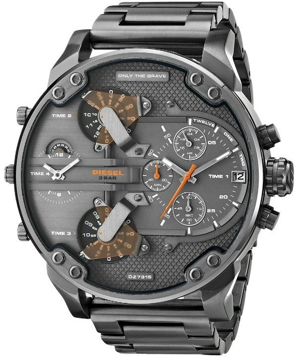 นาฬิกาผู้ชาย Diesel รุ่น DZ7315, Daddies Gunmetal Ion-Plated Chronograph Four Time Zone Dial