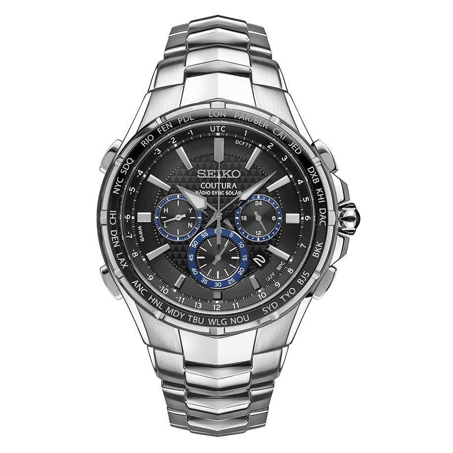 นาฬิกาผู้ชาย Seiko รุ่น SSG009, Coutura Radio Sync Solar Chronograph Stainless Steel