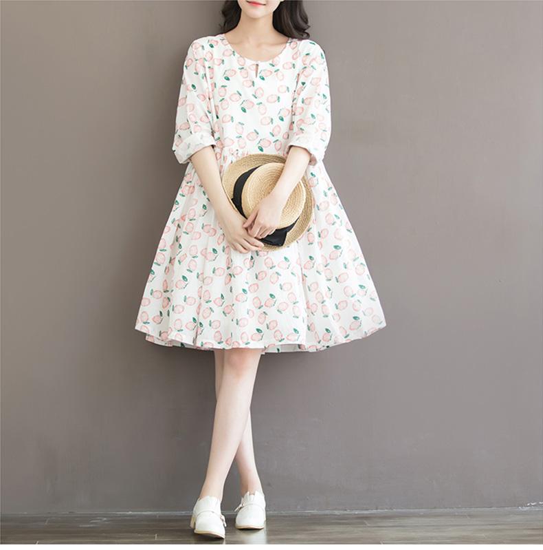 ชุดคนท้อง ผ้าฝ้ายเกาหลี ลายผลไม้ น่ารัก M,L,XL,XXL