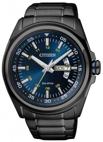 นาฬิกาผู้ชาย Citizen Eco-Drive รุ่น AW0024-15L, Black Ion Plated Blue Dial Men's Watch