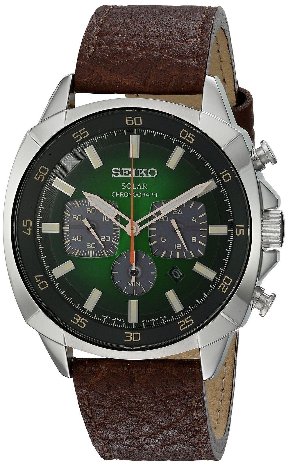 นาฬิกาผู้ชาย Seiko รุ่น SSC513, Solar Chronograph Brown Leather Strap