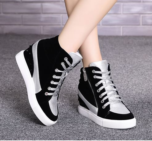 รองเท้าผ้าใบส้นสูงกำมะหยี่ประดับซิปข้าง
