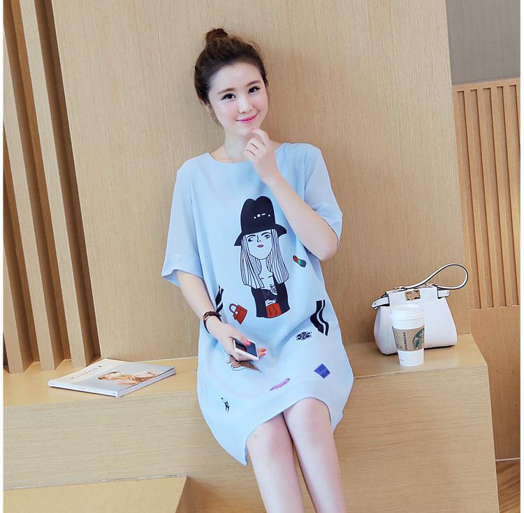 เดรสคลุมท้อง ผ้าชีฟอง พิมพ์ลายน่ารัก มีซับในทั้งตัว ช่วงแขนโชว์ลายผ้า สีฟ้า M,L,XL,XXL