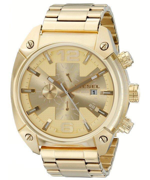 นาฬิกาผู้ชาย Diesel รุ่น DZ4299, Overflow Quartz Chronograph Champagne Dial Gold-tone