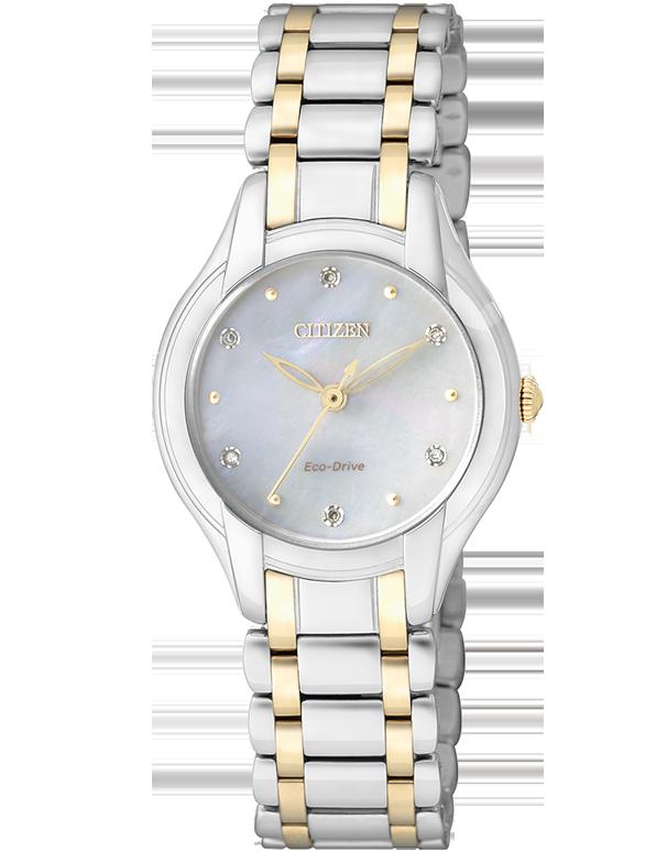 นาฬิกาผู้หญิง Citizen Eco-Drive รุ่น EM0284-51D, Mother of Pearl