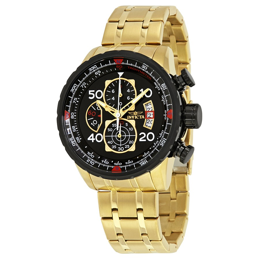 นาฬิกาผู้ชาย Invicta รุ่น INV17206, Aviator Chrono Black Dial Gold Plated Steel Men's Watch