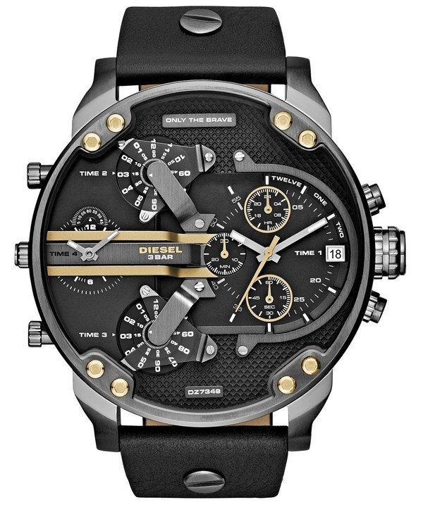 นาฬิกาผู้ชาย Diesel รุ่น DZ7348, Mr. Daddy 2.0 Chronograph 4 Time Zone Black Leather