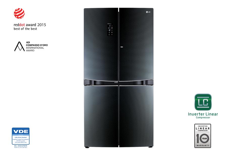 ตู้เย็น 4 ประตู 23.7Q LG Dual Door-in-Door™ GR-D24FBGHL