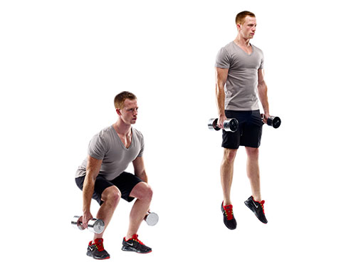 squat jump with dumbell