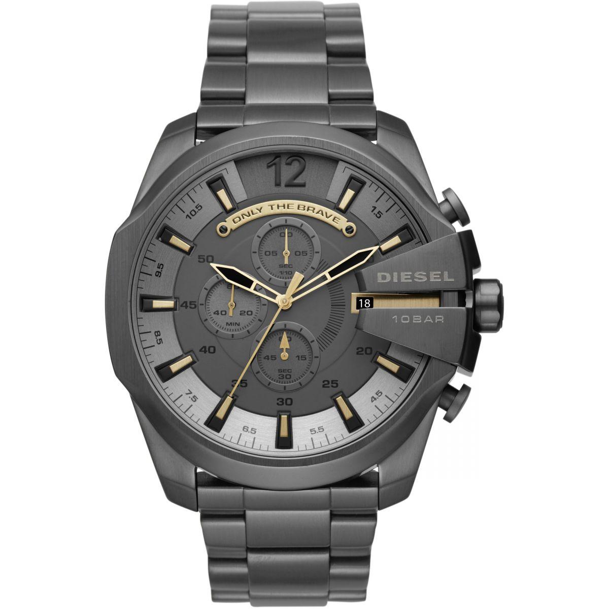 นาฬิกาผู้ชาย Diesel รุ่น DZ4466, Mega Chief Chronograph Grey Dial Men's Watch