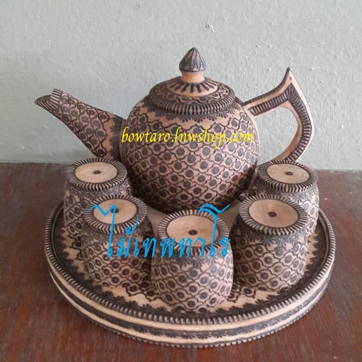 กาน้ำชาไม้เทพทาโร เขียนลายดอกพิกุล