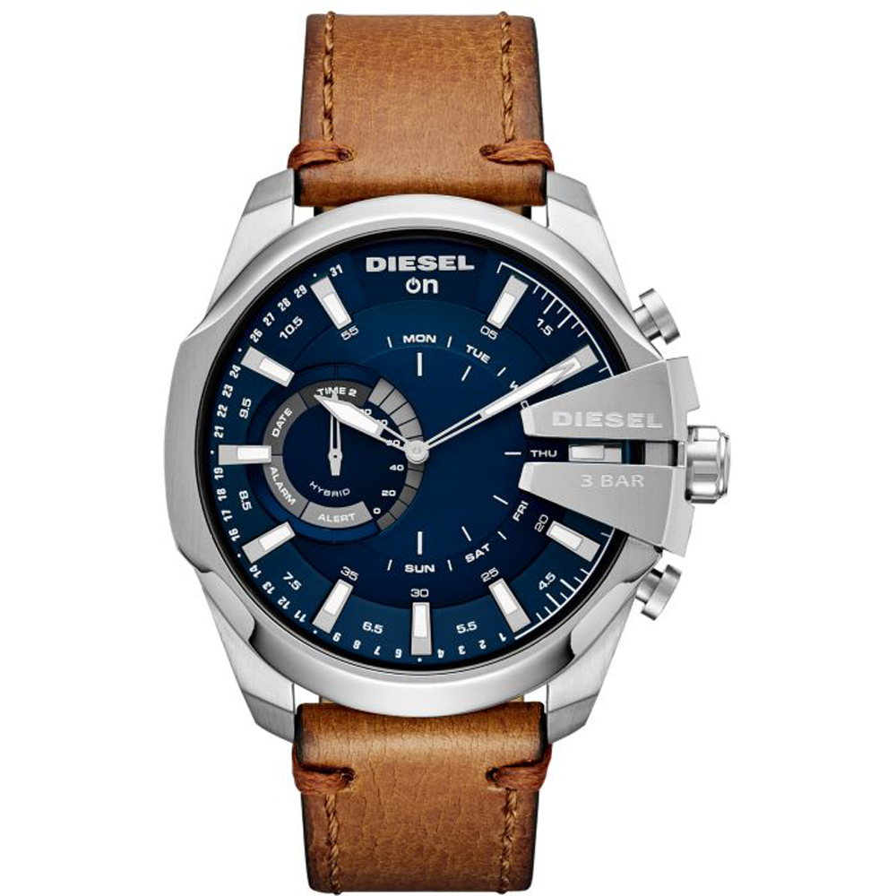 นาฬิกาผู้ชาย Diesel รุ่น DZT1009, Diesel On Mega Chief Hybrid Smartwatch Brown Leather Strap Men's Watch