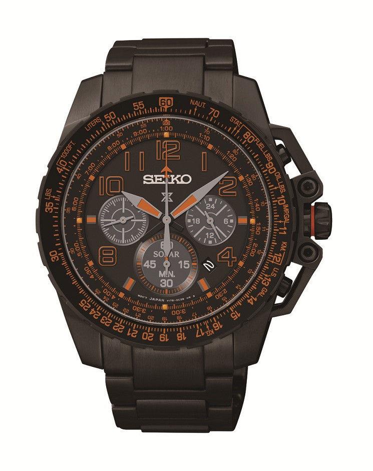 นาฬิกาผู้ชาย Seiko รุ่น SSC277, Prospex Chronograph Solar Black IP