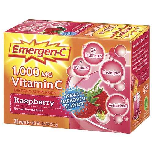 Alacer, Emergen-C, 1,000 mg Vitamin C, Raspberry, 30 Packets