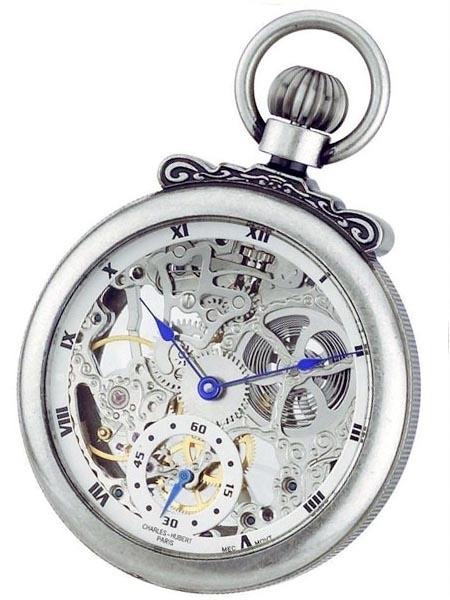 นาฬิกาพกพา Charles-Hubert รุ่น 3869S, Mechanical Silver Tone