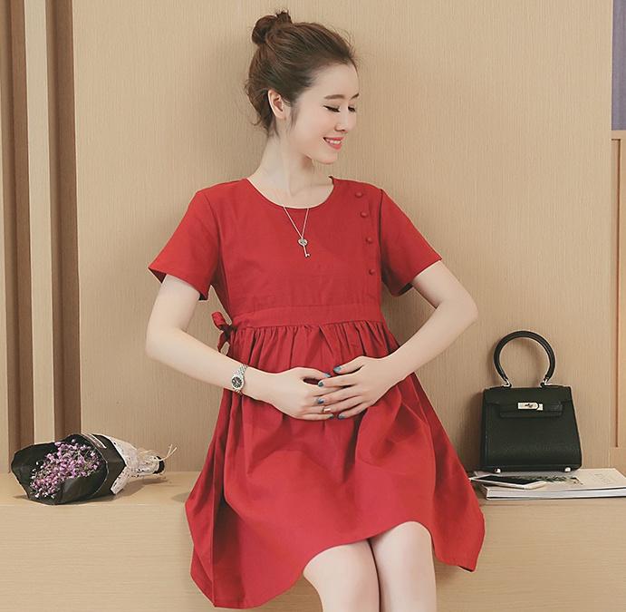 ชุดคลุมท้อง ผ้าเบาสบาย เชือกรูดผูกข้าง ประดับกระดุมข้าง สีแดง M,L,XL,XXL